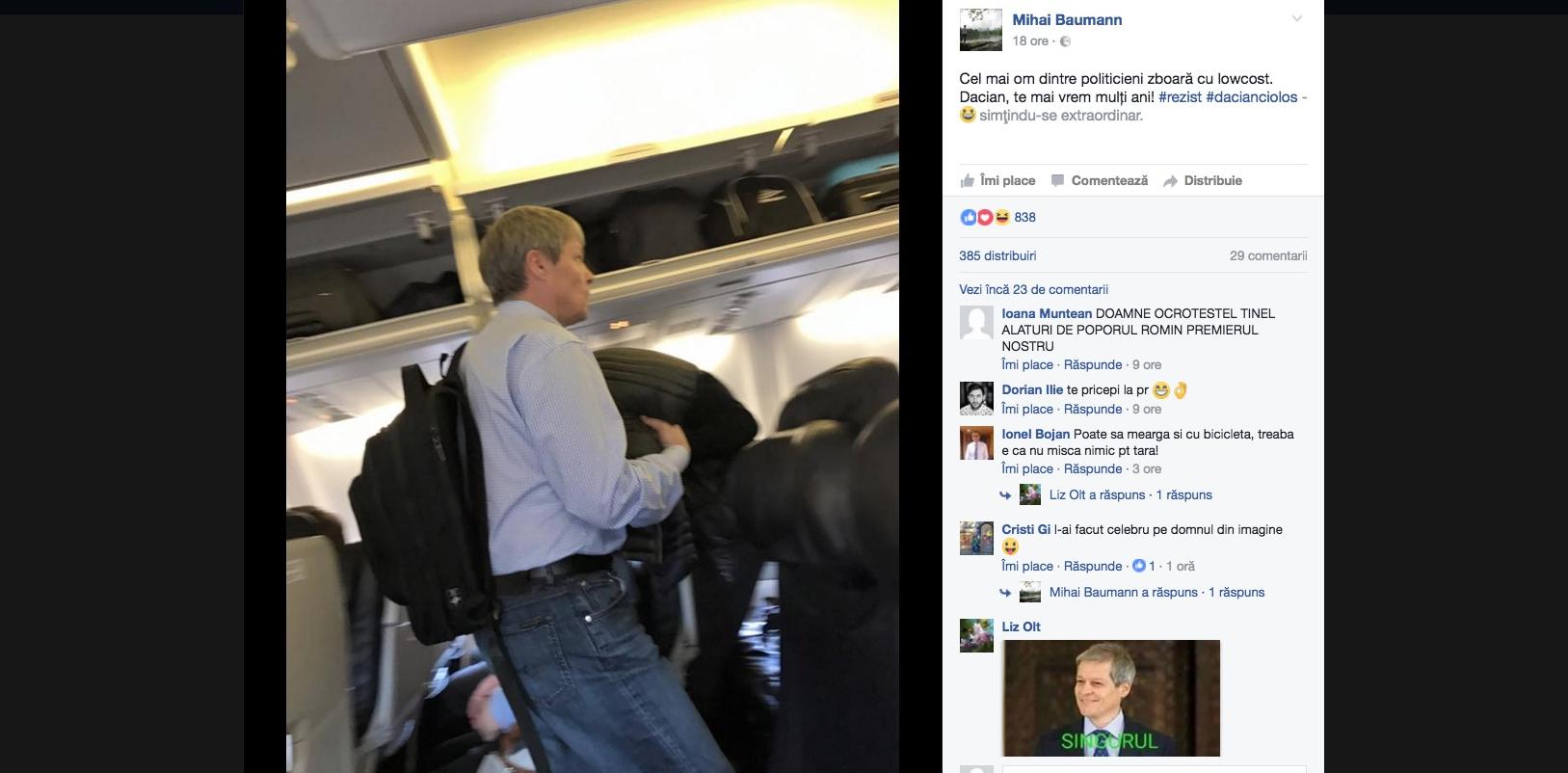 Cioloș, pozat din nou în avion la low-cost! Ăsta nu se mai satură de imagine!