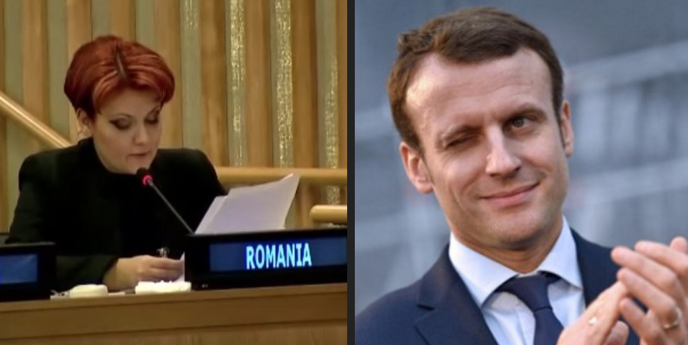 Impresionat de cunoștințele ei de franceză, Macron vrea să ne-o ia pe Olguța şi să o facă ministră a tramvaiului!