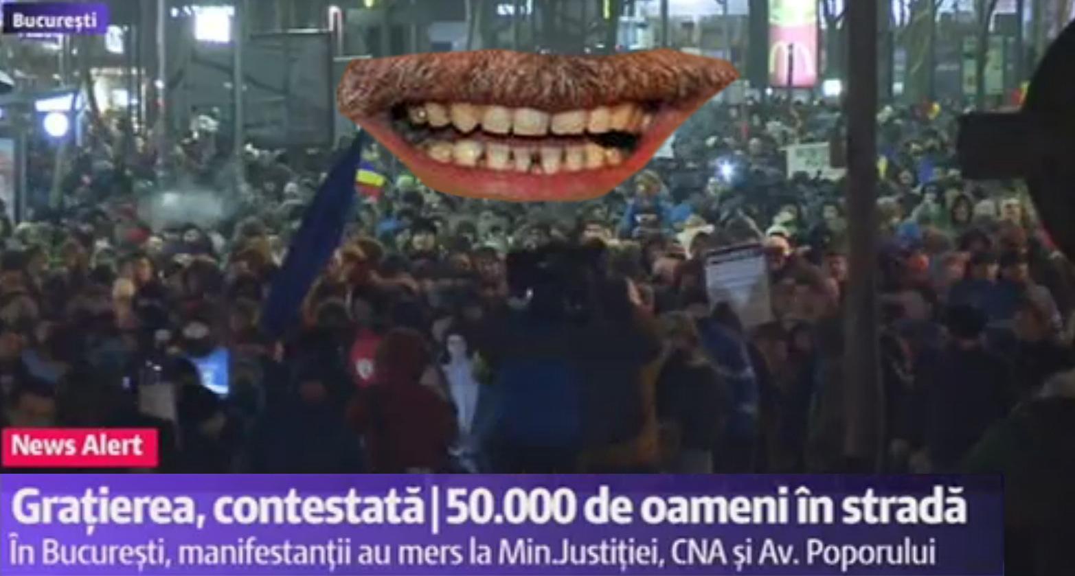 50.000 de protestatari în București. Mustața rezistă