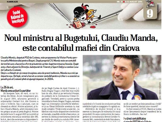 Noul ministru al Bugetului, Claudiu Manda, este contabilul mafiei din Craiova