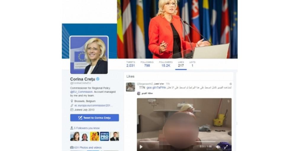 Comisarul european Corina Creţu a dat like, pe Twitter, unui filmuleţ porno